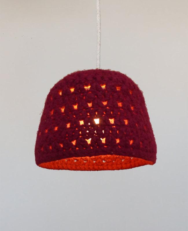 rode hanglamp van wol