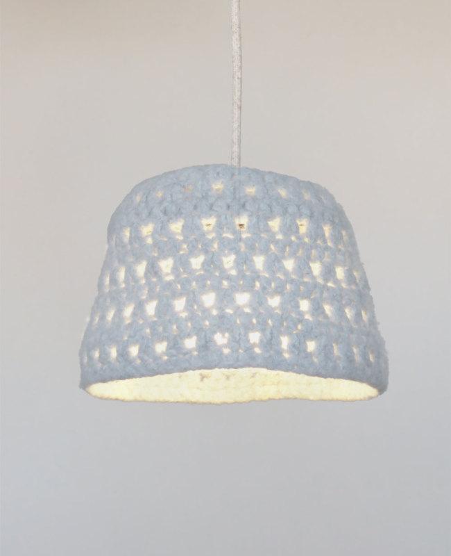 grijze sfeervolle hanglamp van wol