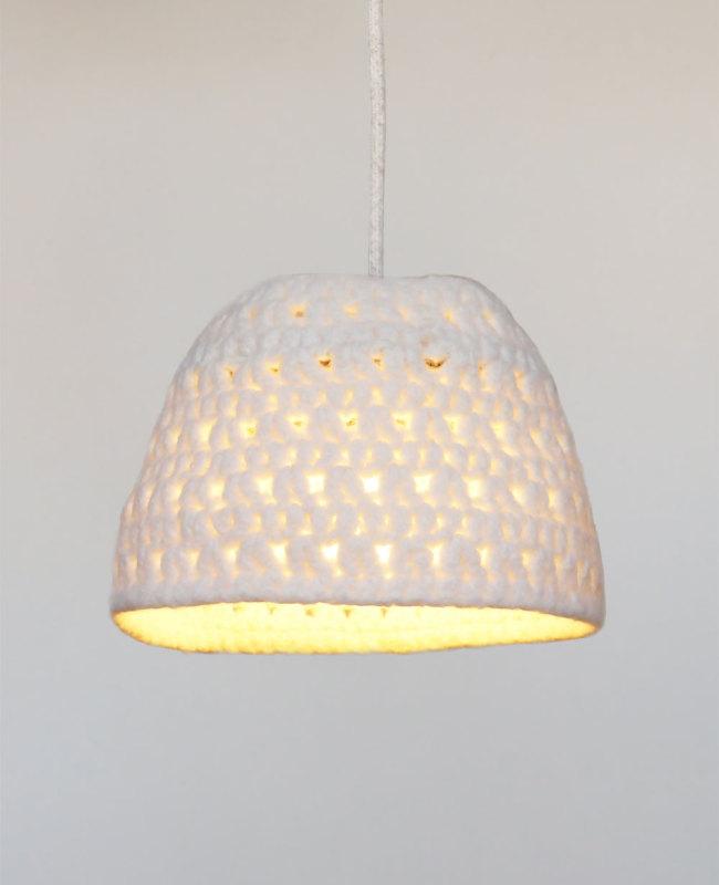 witte hanglamp van wol