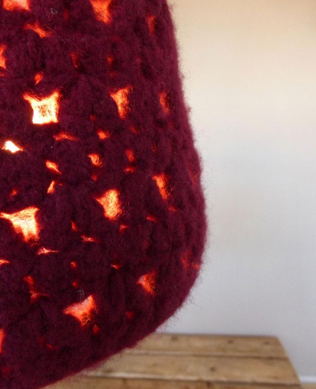 rode hanglamp vilt detail