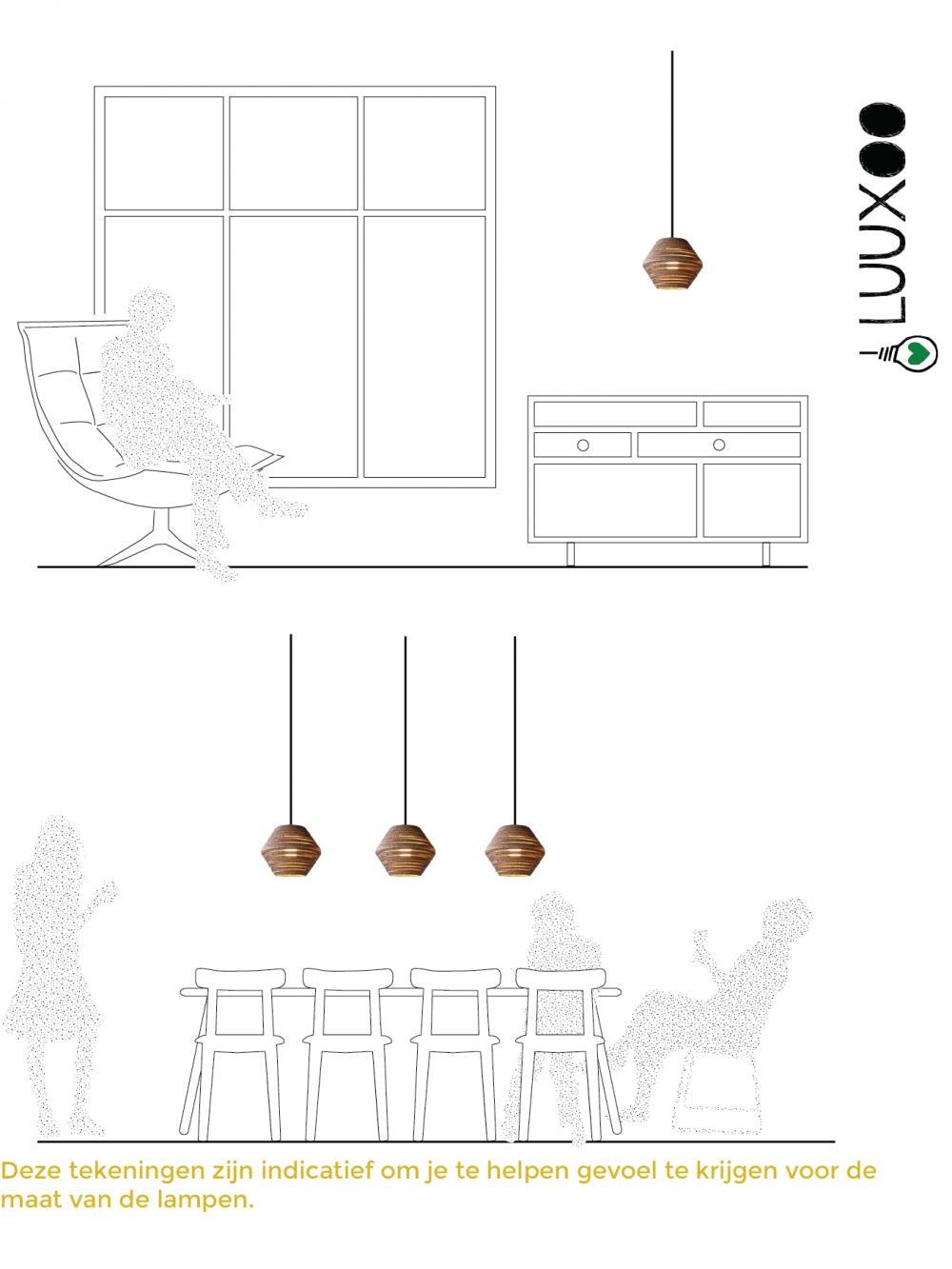 lamp van karton ombo light Luuxoo voorbeelden